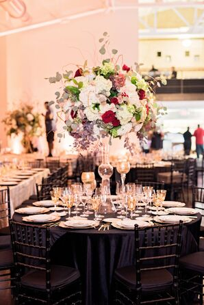 Tall Centerpieces with Roses, Hydrangeas and Eucalyptus