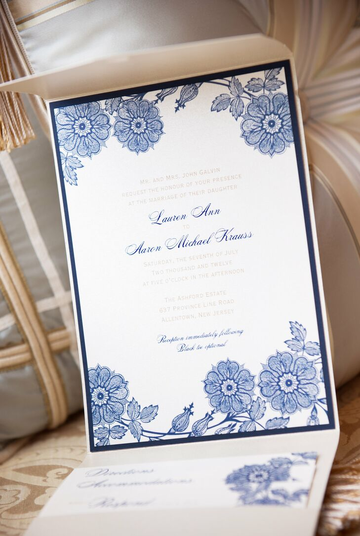 """An exterior pocket held together the five separate printed pieces that came along with the invitation. """"They required a lot of assembly,"""" according to Lauren. """"I thought of the invitation as a preview of things to come. It was very important to me that it reflected the style of the wedding."""""""