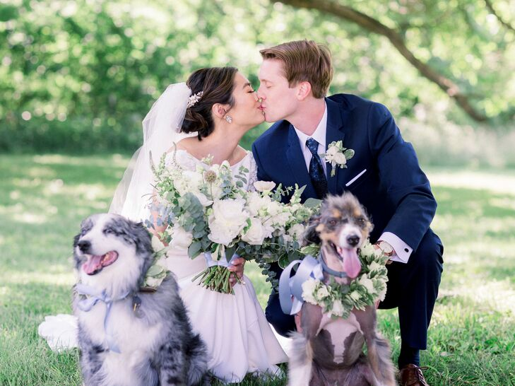 Couple with Dogs at Wedding in Fayette, Missouri