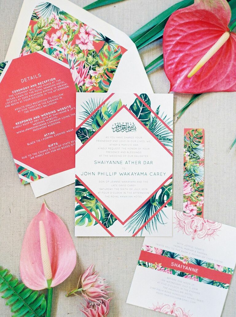 Tropical pink-and-green wedding invitations