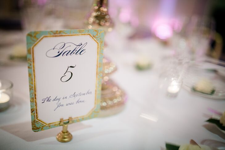 Shades of mint, ivory, gold, blush and navy decorated the stately ballroom of the Langham Hotel in Boston, Massachusetts, infusing the room with a cheerful yet elegant spring vibe. The table numbers incorporated the seasonally inspired hues, the Wedding Paper Divas design featuring gilded mint edging and anecdotes relating to each number.