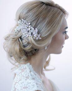 Dareth Colburn Swarovski Crystal Floral Comb (TC-2265) Silver Pins, Combs + Clip