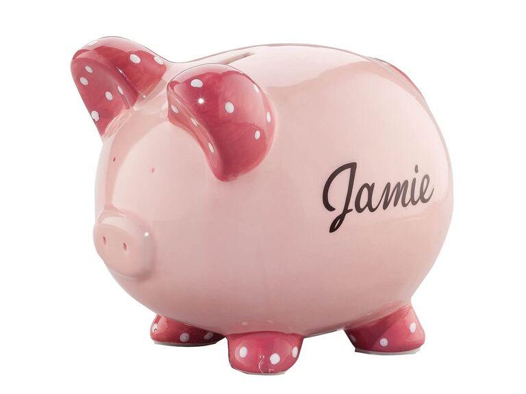 Flower girl piggy bank in pink