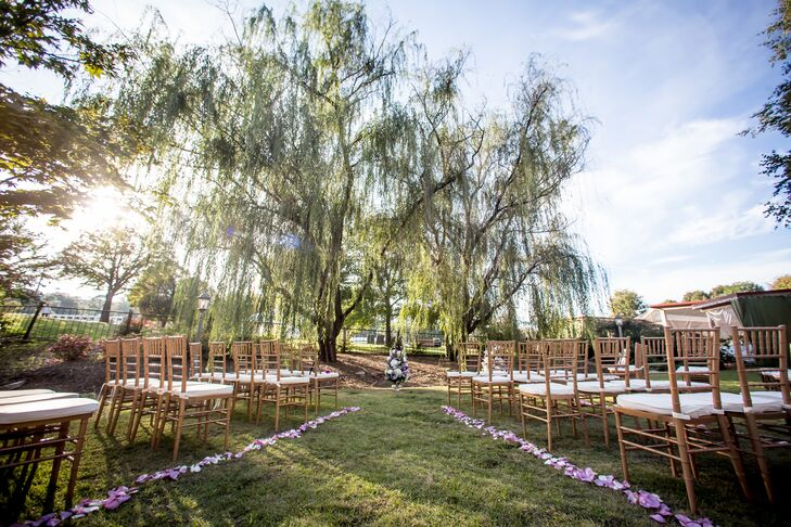 The couple's meadow ceremony space offered romantic oak trees and stunning views of Piedmont Park.