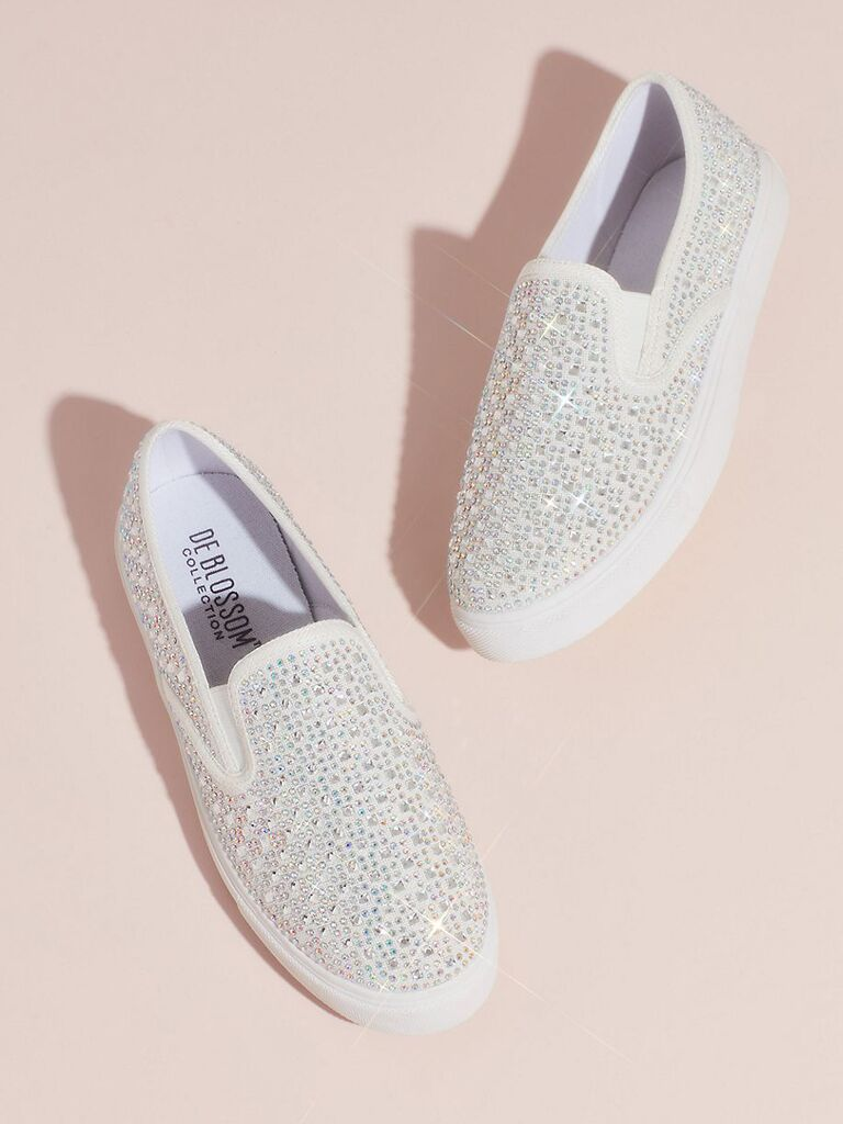 Crystal-studded slip-on sneakers for wedding