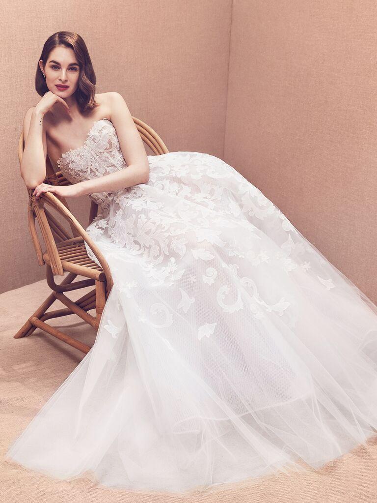 Oscar de la Renta Spring 2020 Bridal Collection strapless wedding dress with bustier bodice