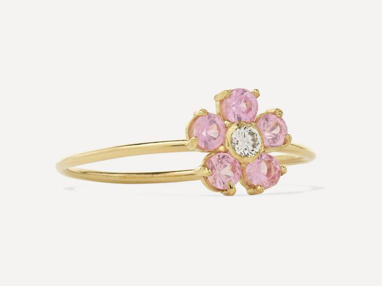 Jennifer Meyer 18K gold, sapphire and diamond flower ring