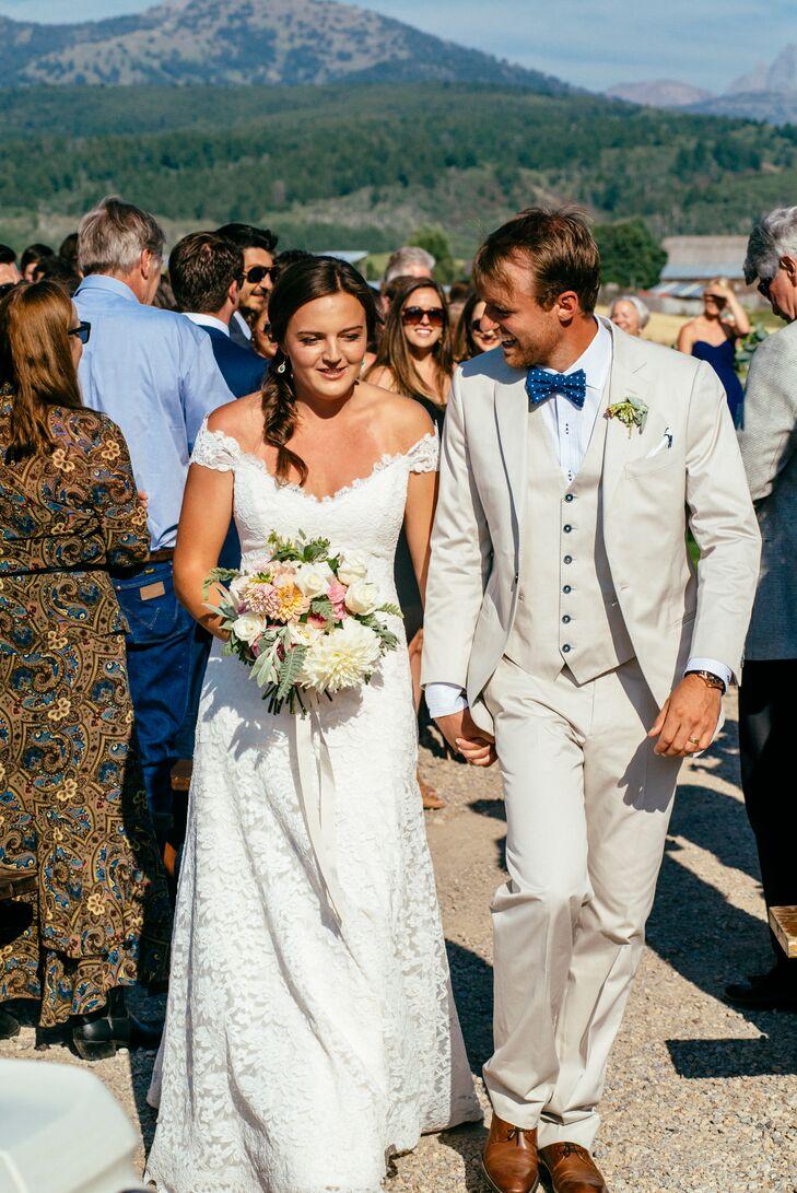 Lace Off-the-Shoulder Romona Keveza Wedding Dress