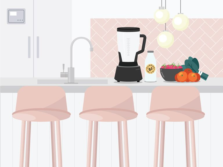 illustrated kitchen island with blender, fresh fruit and vegetables with pink stools in front