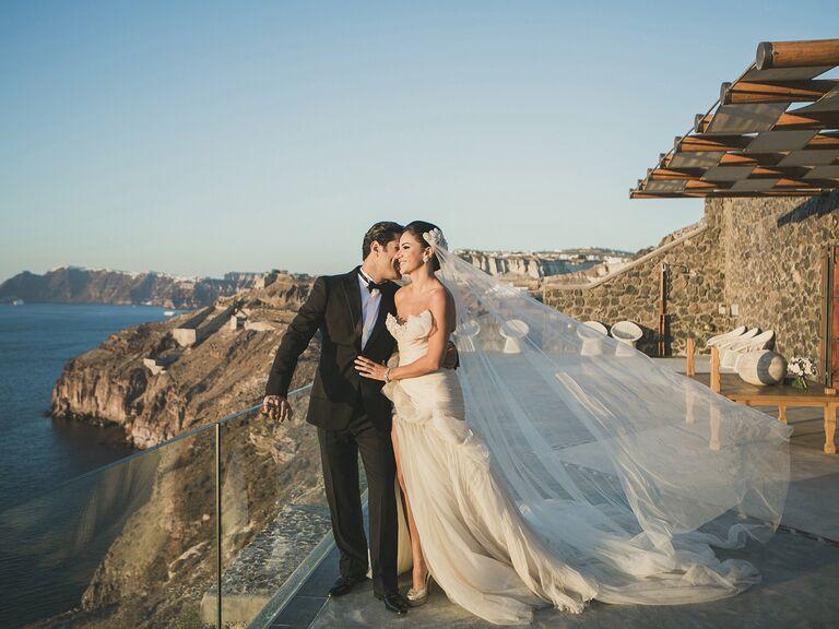 Bride and groom portrait in Santorini, Greece
