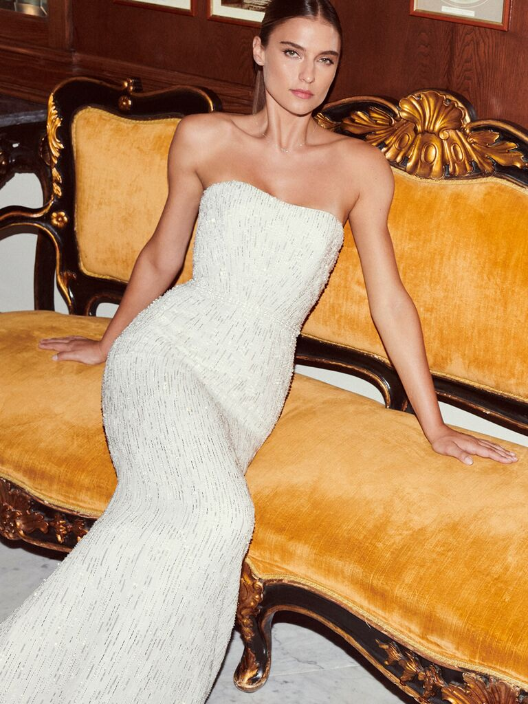 Jenny Packham strapless sheath dress