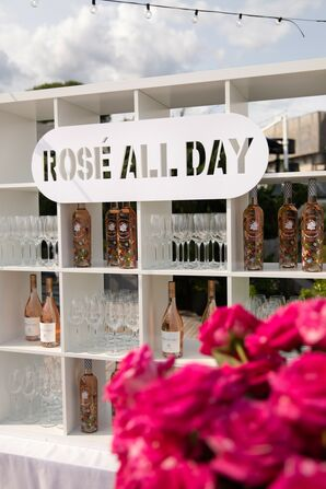 White Rosé Bar with Modern Signage