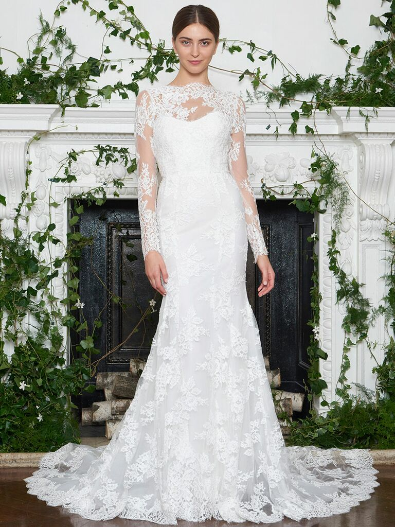 Monique Lhuillier Fall 2018 fit and flare wedding dress with lace illusion long sleeves