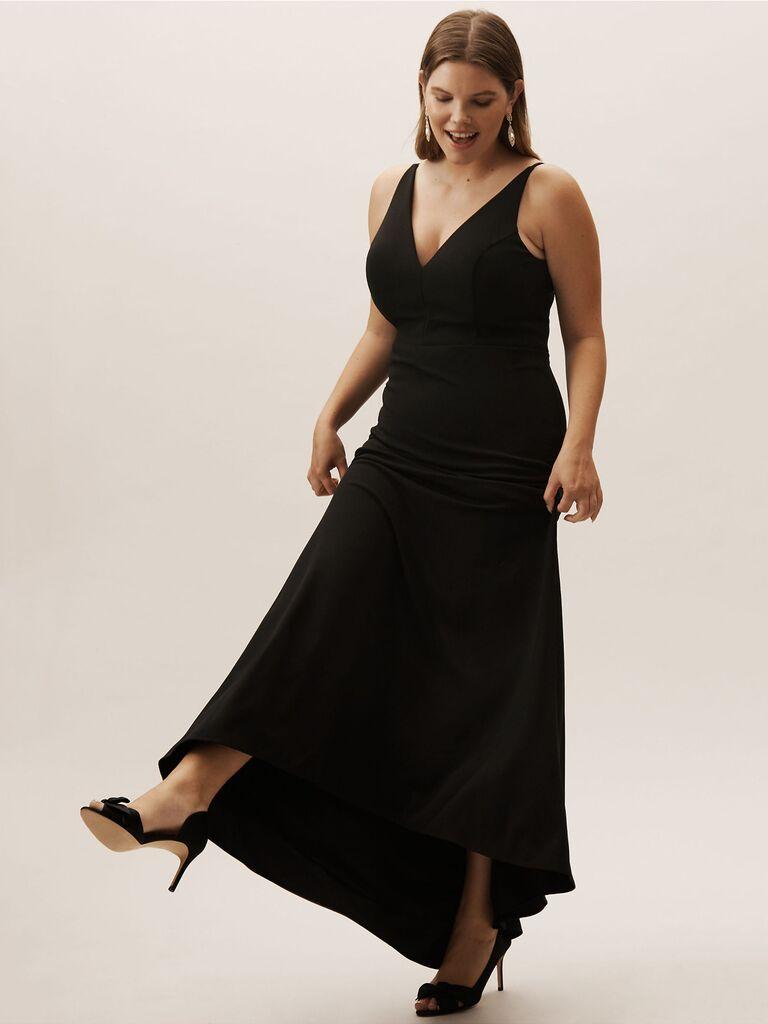 Black long plus size bridesmaid dress