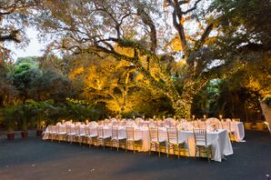 Elegant Outdoor Reception Space with Lit Trees