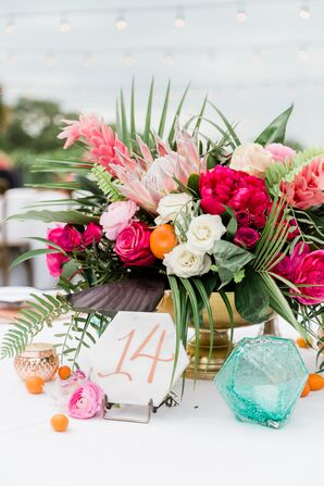 Palm Leaf, Protea, Rose and Fruit Centerpieces