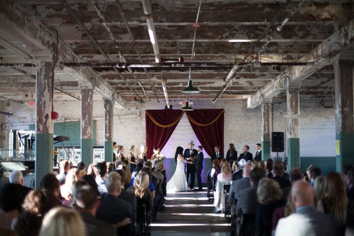 Red curtains added a pop of color to the venue's historic, urban layout.