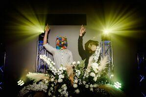 DJ Wearing Mask at Reception in San Sebastian, Spain