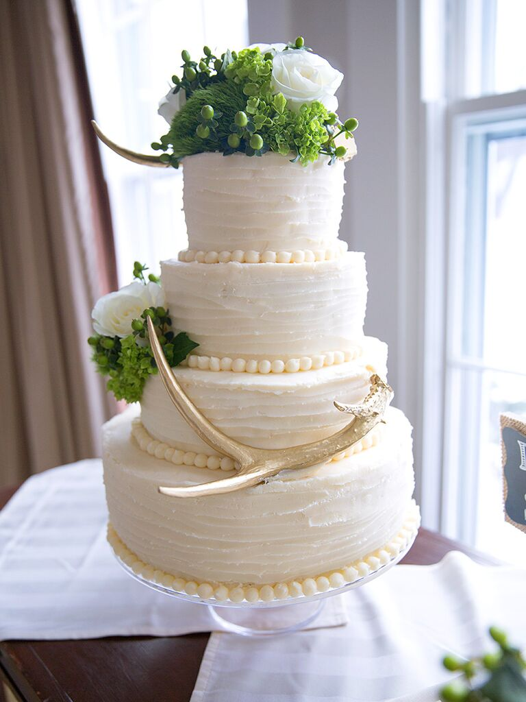 Winter Wedding Cake Idea With Evergreen Topper And White Flowers