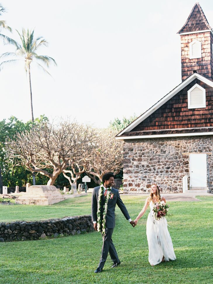 Laura and Star exchanged vows (and ceremonial wedding lei) at the Keawala'i Congregational Church in Makena, Hawaii.