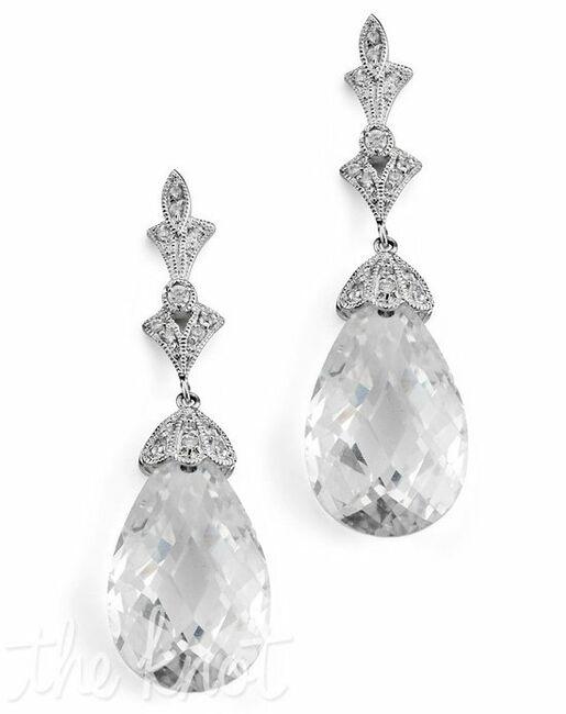 Anna Bellagio Lydia Art Deco Swarovski Crystal Drop Earrings Wedding Photo
