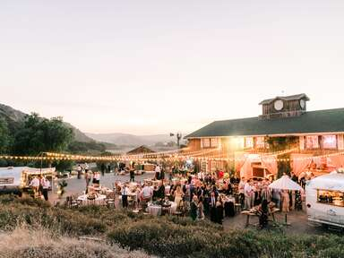 Outdoor backyard wedding with mountain views