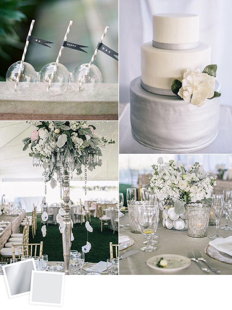 Silver and dove gray wedding color palette ideas