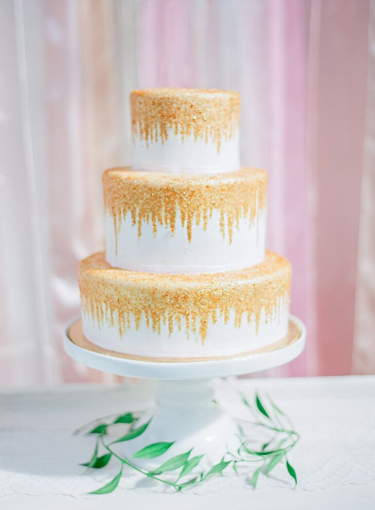 Hand-Painted Gold Glitter Cake