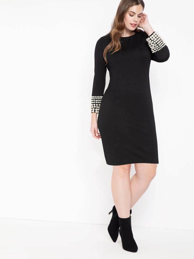 Black long sleeve dress with pearl cuffs