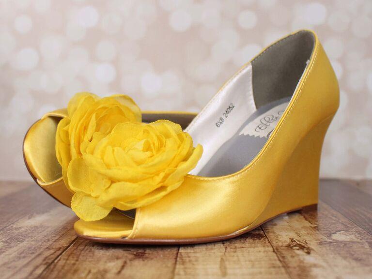 yellow floral wedge wedding shoe