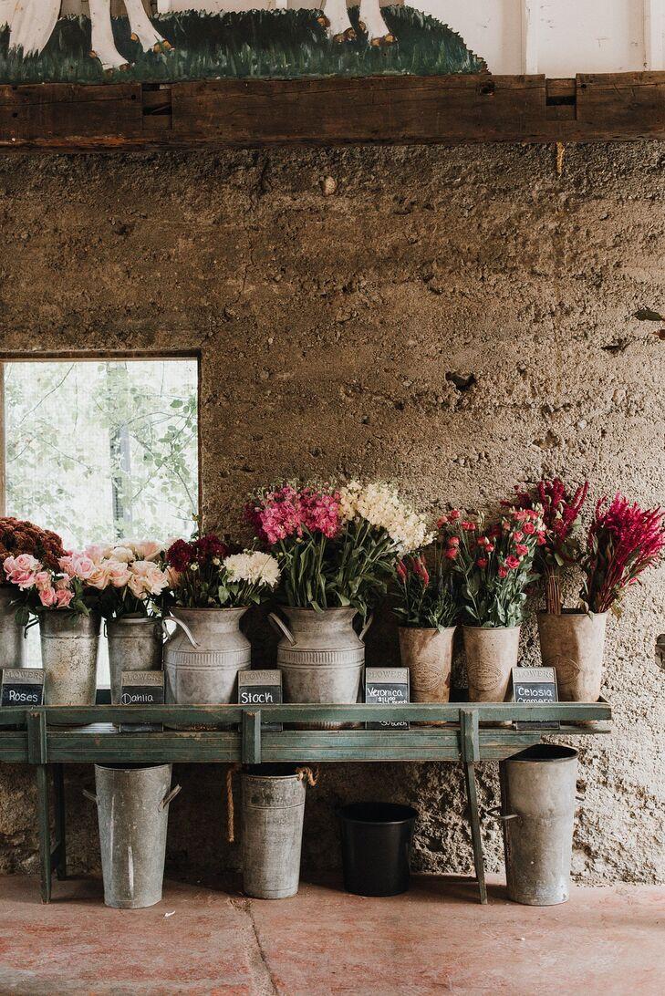 Rustic Flower Arrangement Display with Stone Vases