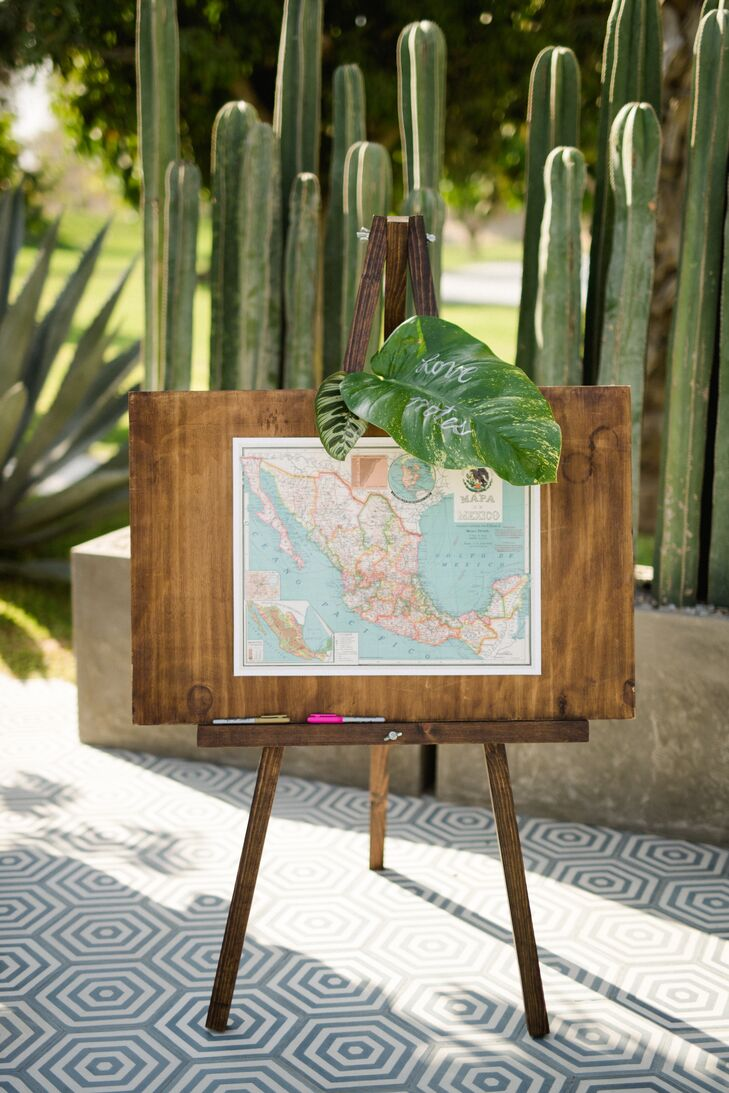 Tropical Map Guest Book Sign-In