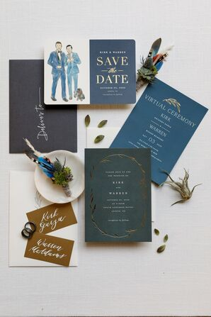 Blue Invitation Suite for Wedding at South Congress Hotel in Austin, Texas