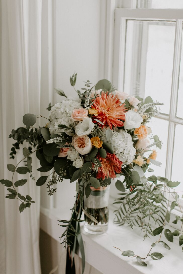 Oversized Bouquet with Bright Protea, Peonies, Eucalyptus and Hydrangeas