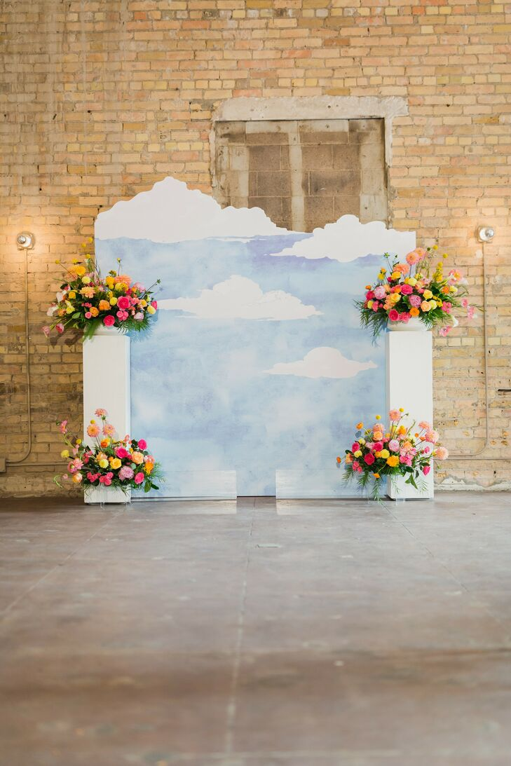 Sky-Inspired Backdrop at Loring Social in Minneapolis, Minnesota