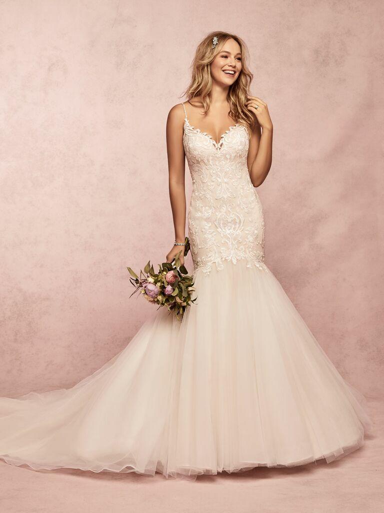 Rebecca Ingram Spring 2019 lace mermaid wedding dress with tulle skirt