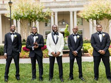 Groom with best man and groomsmen