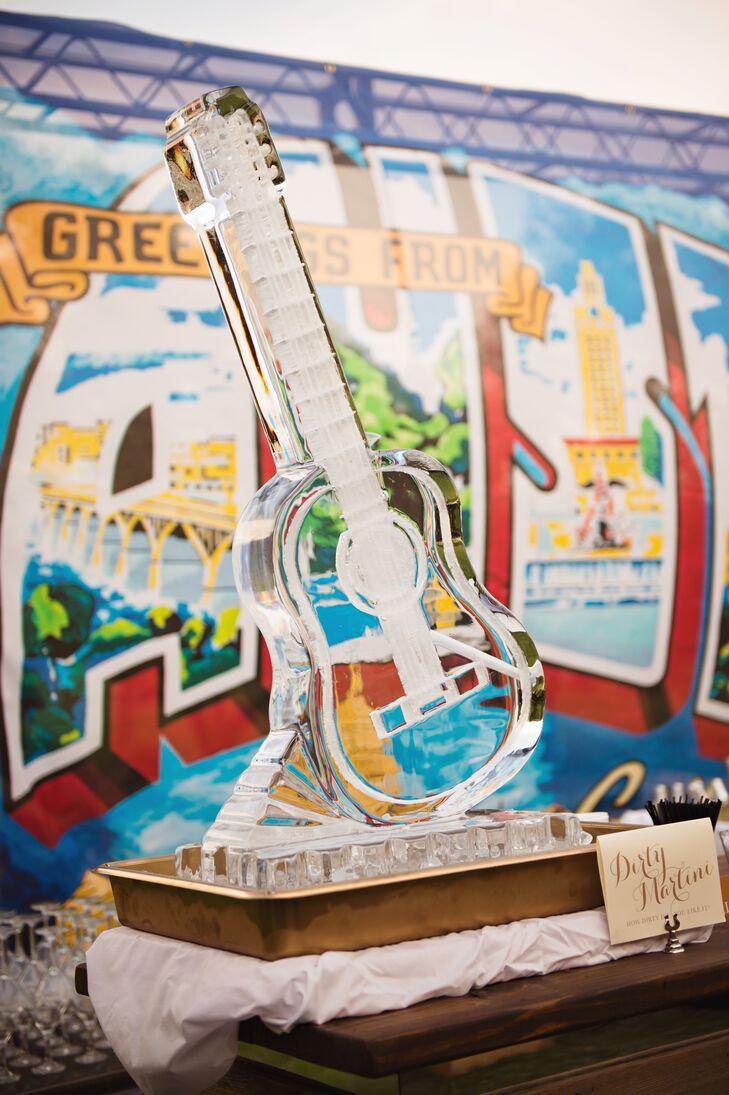 Guitar Ice Sculpture for Signature Cocktails
