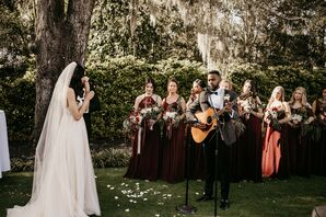 Musical Performance During Rustic Wedding at Wrightsville Manor in North Carolina