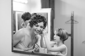 The Bride Getting Ready in Short Curly Hairstyle