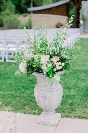 Whimsical, Vintage Potted Flower Arrangement