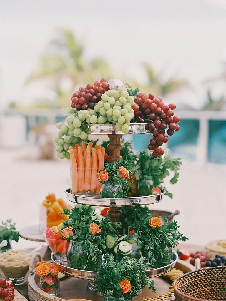 Tiered vegetable idea for wedding reception food