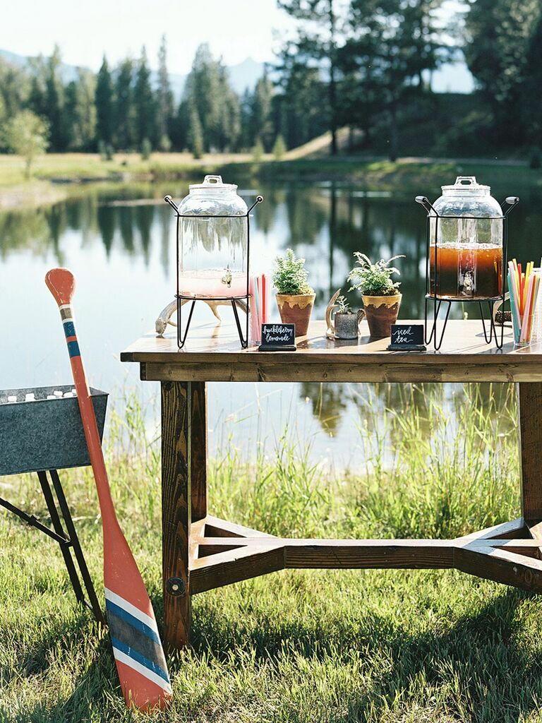 Camp wedding rustic outdoor drink bar