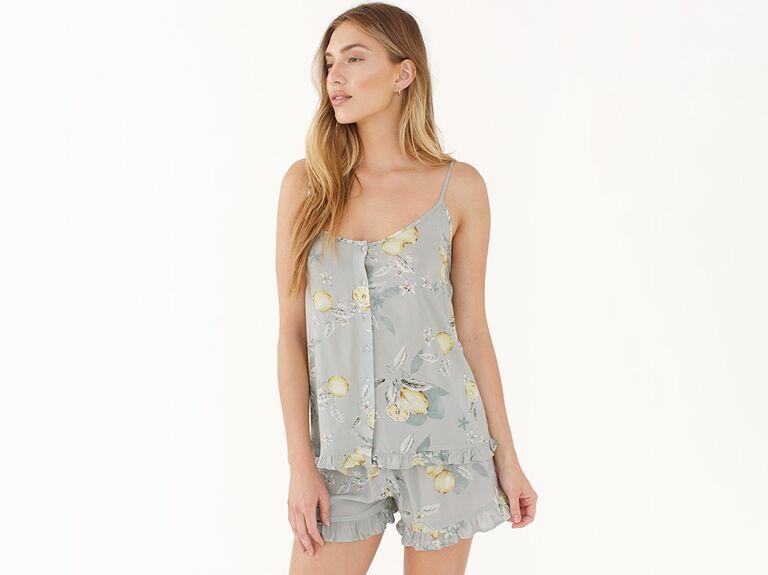 Lemon bridesmaid pajama shortie set
