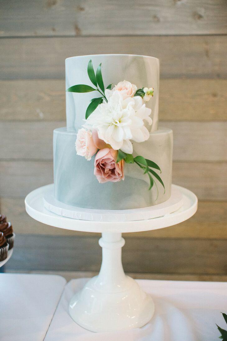 Blue Wedding Cake at Machine Shop in Minneapolis, Minnesota