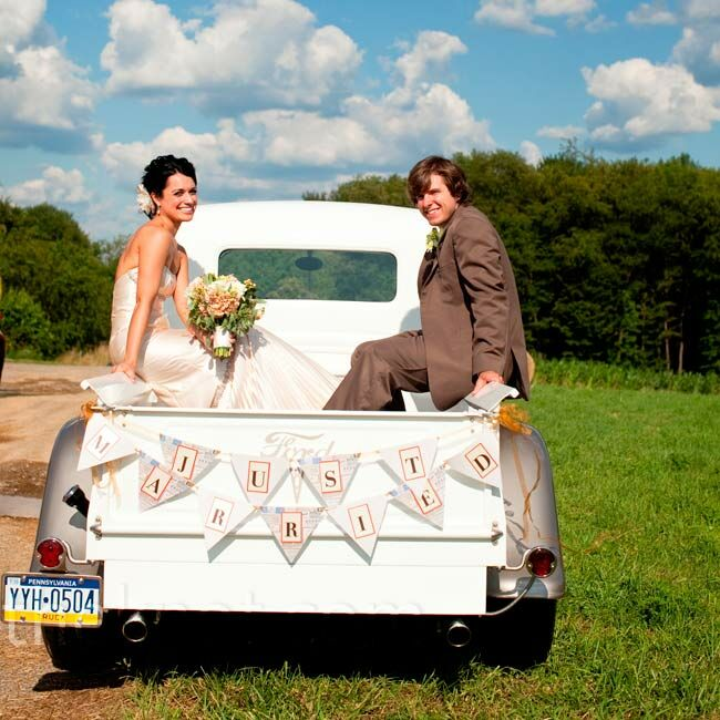 For their grand entrance into the reception, Alison and Scott rode in on a 1937 Ford pickup truck Alison and her mother spotted at an antique-truck show.