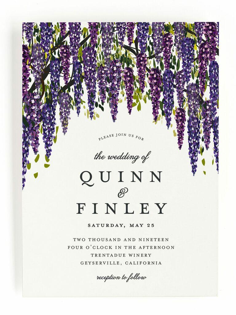 Minted purple wisteria spring wedding invitation