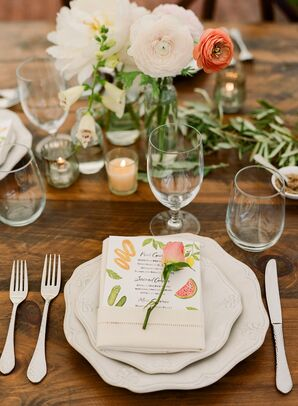 Vintage China Topped with Rose and Menu with Fruit Illustration