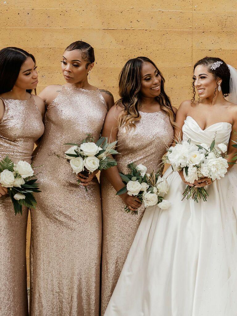 Bridesmaid updos slicked back