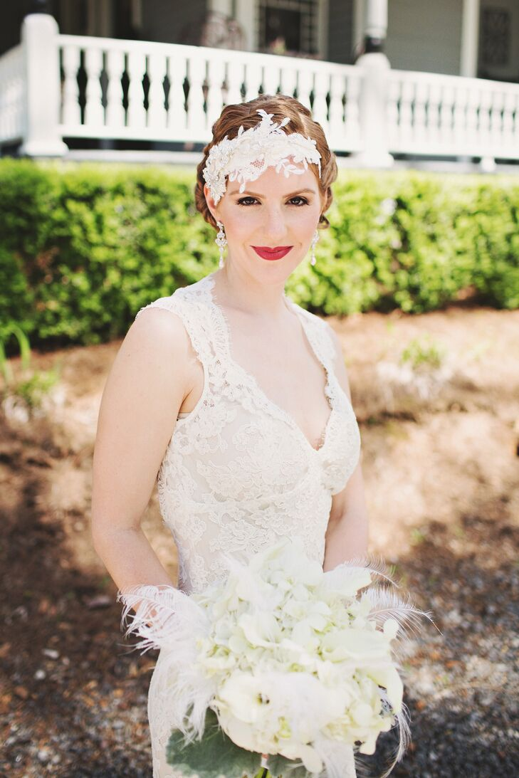 Twigs & Honey custom-made Kristen's headpiece utilizing lace from her Monique Lhuillier sheath gown.